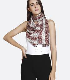 Buy Multicolour Liva Certified Rayon Floral Printed Scarf scarf online