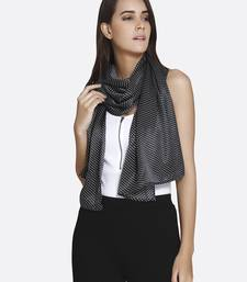 Buy Black Satin Polka Dots Printed Scarf scarf online
