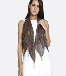 Buy Green  and  Brown Pure Viscose Printed Scarf scarf online