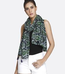 Women Green Liva Certified Rayon Printed Scarf