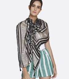 Buy Women Beige  and  Black Satin Printed Scarf scarf online