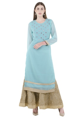 light_blue embroidered Georgette stitched kurti