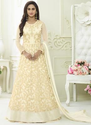 White Net Embroidered Semi Stitched Anarkali Suit