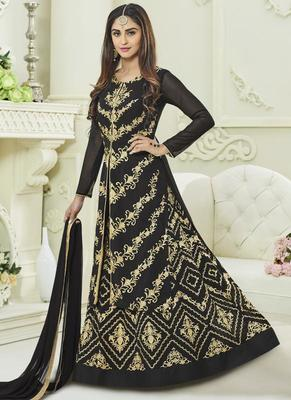 black georgette embroidered semi stitched Anarkali Suit