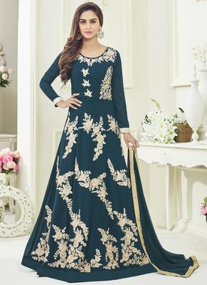 Teal Georgette Embroidered Semi Stitched Anarkali Suit