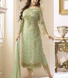 lime georgette embroidered semi stitched salwar with dupatta