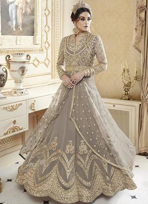 grey georgette embroidered semi stitched pakistani salwar with dupatta