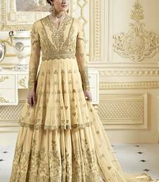 Buy cream georgette embroidered semi stitched pakistani salwar with dupatta anarkali-lehenga online