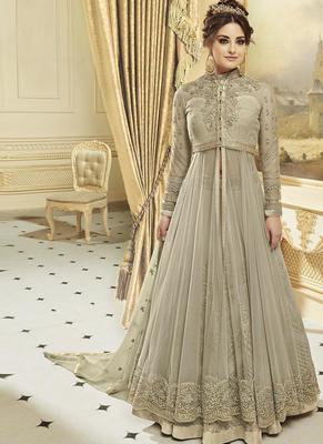 grey georgette embroidered semi stitched pakistani Anarkali Suit
