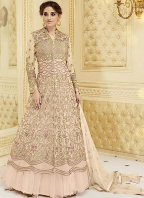 Light Pink Georgette Embroidered Semi Stitched Pakistani Salwar With Dupatta
