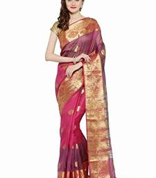 Buy Chhabra 555 Purple Woven Banarasi Silk Saree With Blouse all-seasons-saree online