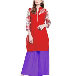 Buy Chhabra 555 Red Colored Embroidered Cotton Kurta women-ethnic-wear online