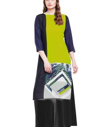 Buy Chhabra 555 Green And Black Colored Printed Rayon Kurta party-wear-kurtis online