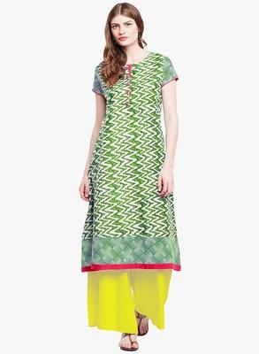 Chhabra 555 Green And White Colored Printed Cotton Kurta