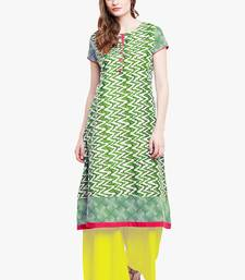 Buy Chhabra 555 Green And White Colored Printed Cotton Kurta party-wear-kurtis online