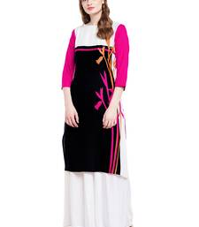 Buy Chhabra 555 Black And Pink Colored Printed Rayon Kurta party-wear-kurtis online