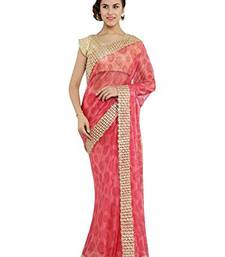 Buy Chhabra 555 Pink Embroidered Georgette Saree With Blouse all-seasons-saree online