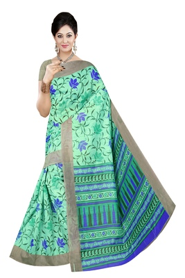 Sea green printed cotton saree with blouse