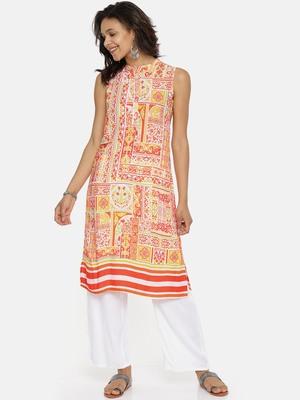 Orange printed rayon cotton-kurtis