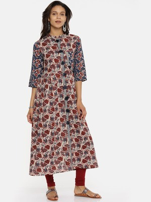 Brown  printed cotton-kurtis