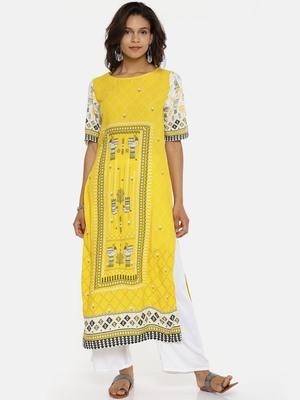 Yellow printed rayon cotton-kurtis