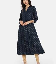 Navy  printed rayon cotton-kurtis