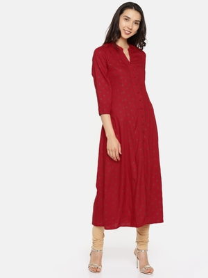 Red printed rayon cotton-kurtis