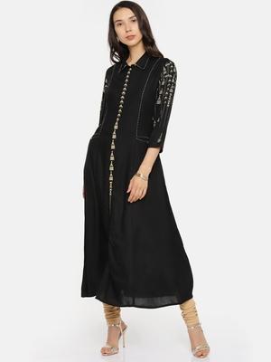 Black printed rayon cotton-kurtis