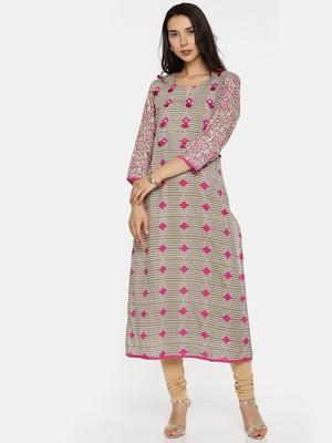 Pink printed cotton-kurtis