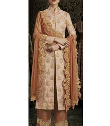 Buy Peach embroidered brocade salwar wedding-salwar-kameez online