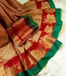 Buy Multicolor color kora muslin saree with zari border art-silk-saree online