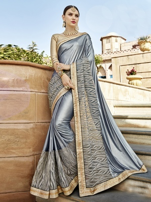 Silver embroidered silk saree with blouse