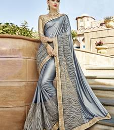 Buy Silver embroidered silk saree with blouse designer-embroidered-saree online