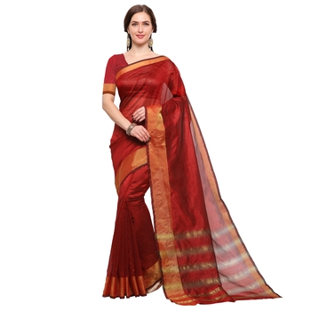 Red woven silk cotton saree with blouse