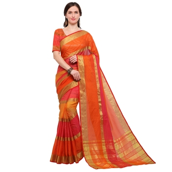 Orange woven silk cotton saree with blouse
