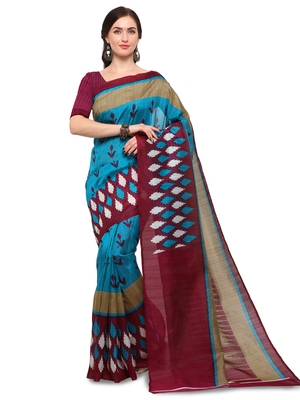 Sky blue printed bhagalpuri silk saree with blouse