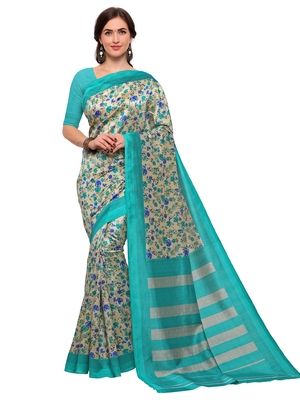 Cream printed bhagalpuri silk saree with blouse