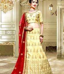 Buy Beige zari embrodiery art silk designer lehenga with blouse and dupatta women-ethnic-wear online