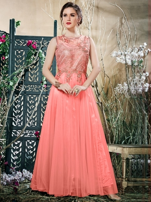 Dazzling Peach Net Embroidered Party wear Stitched Gown