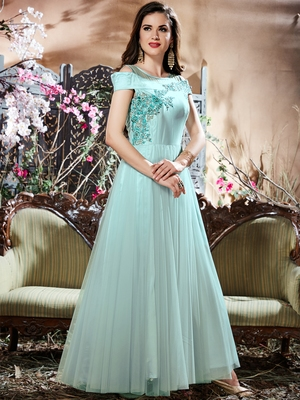 Glamour Firoji Net Fancy Party Wear Anarkali Gown