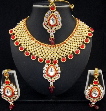 Charming Jewelry Red White Crystal Kundan 4pc Designer Jewelry Set