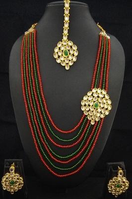 Charming Jewelry Red Green Crystal Kundan 4pc Jewelry Set