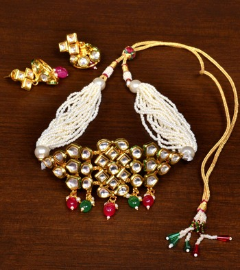 Ruby, Panna and Pearls Embellished Multilayered Seed Beaded Choker Style Necklace