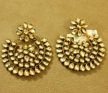Kundan Meenakari Chand Bali Wedding Earrings