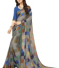 Buy Multicolor printed crepe saree with blouse women-ethnic-wear online