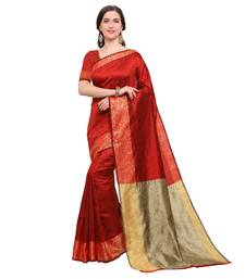 Buy Red woven silk blend saree with blouse karwa-chauth-saree online