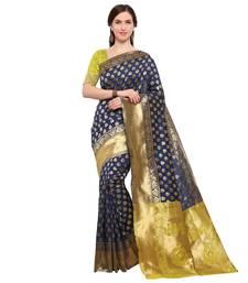 Buy Navy blue woven pure silk saree with blouse brocade-saree online