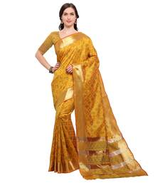 Mustard woven pure silk saree with blouse