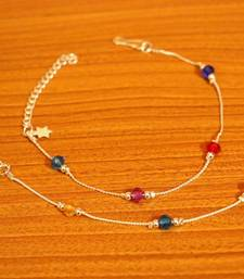 Multicolour Silver Plated Anklets