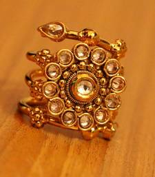 Polki Gold Flower Pattern Party Wear Ring